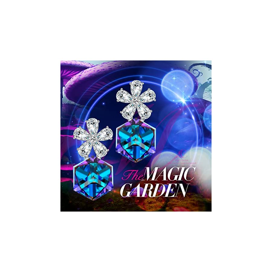 """LADY COLOUR """"The Magic Garden"""" Flower Earrings Color changing Blue Jewelry Made with Swarovski Crystals"""