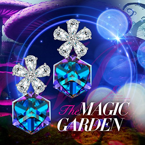 "LADY COLOUR ""The Magic Garden"" Flower Earrings Color changing Blue Jewelry Made with Swarovski Crystals"