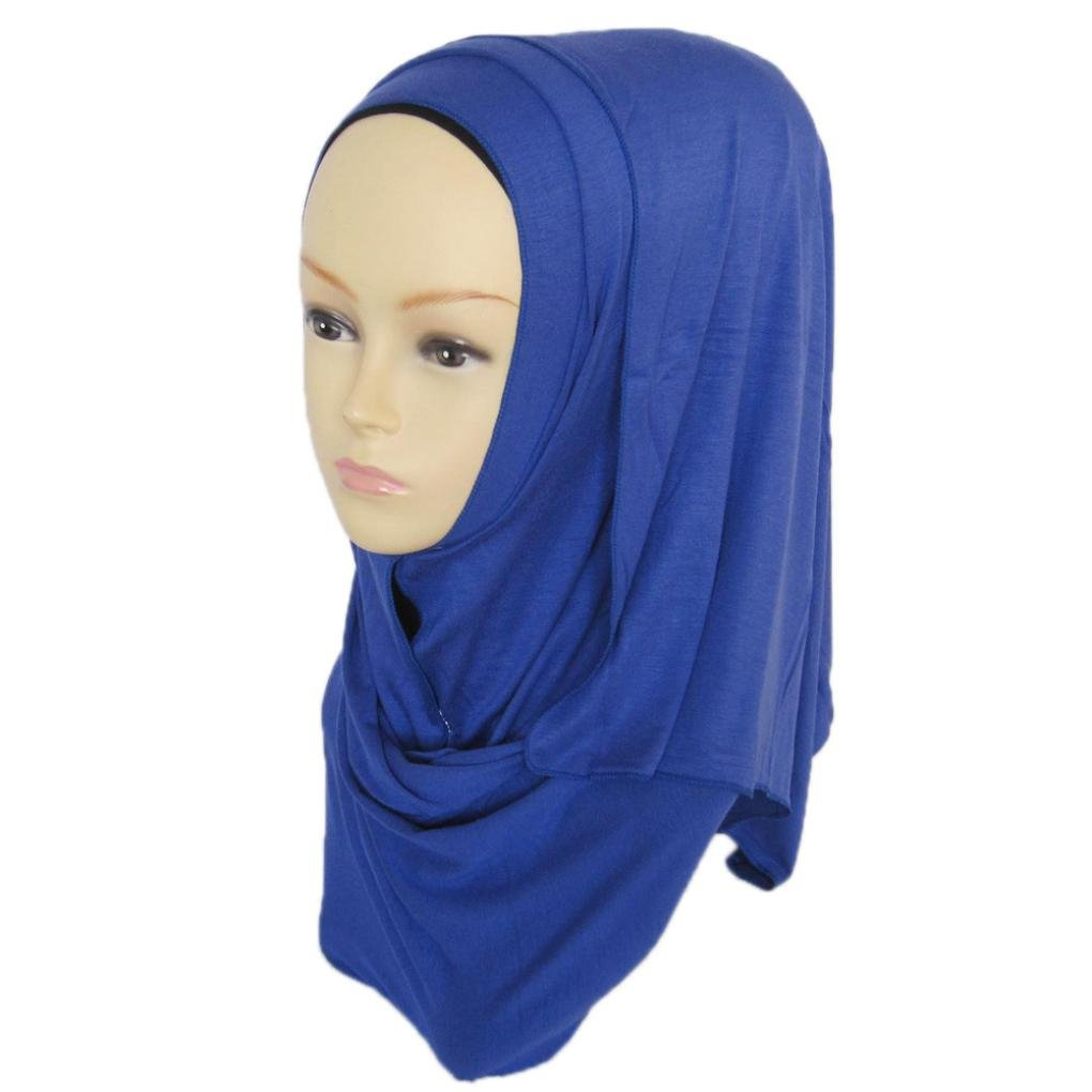 DZT1968 Women daily Cotton Sweat Long Scarf Muslim Hijab Arab Wrap Shawl Headwear (Blue)