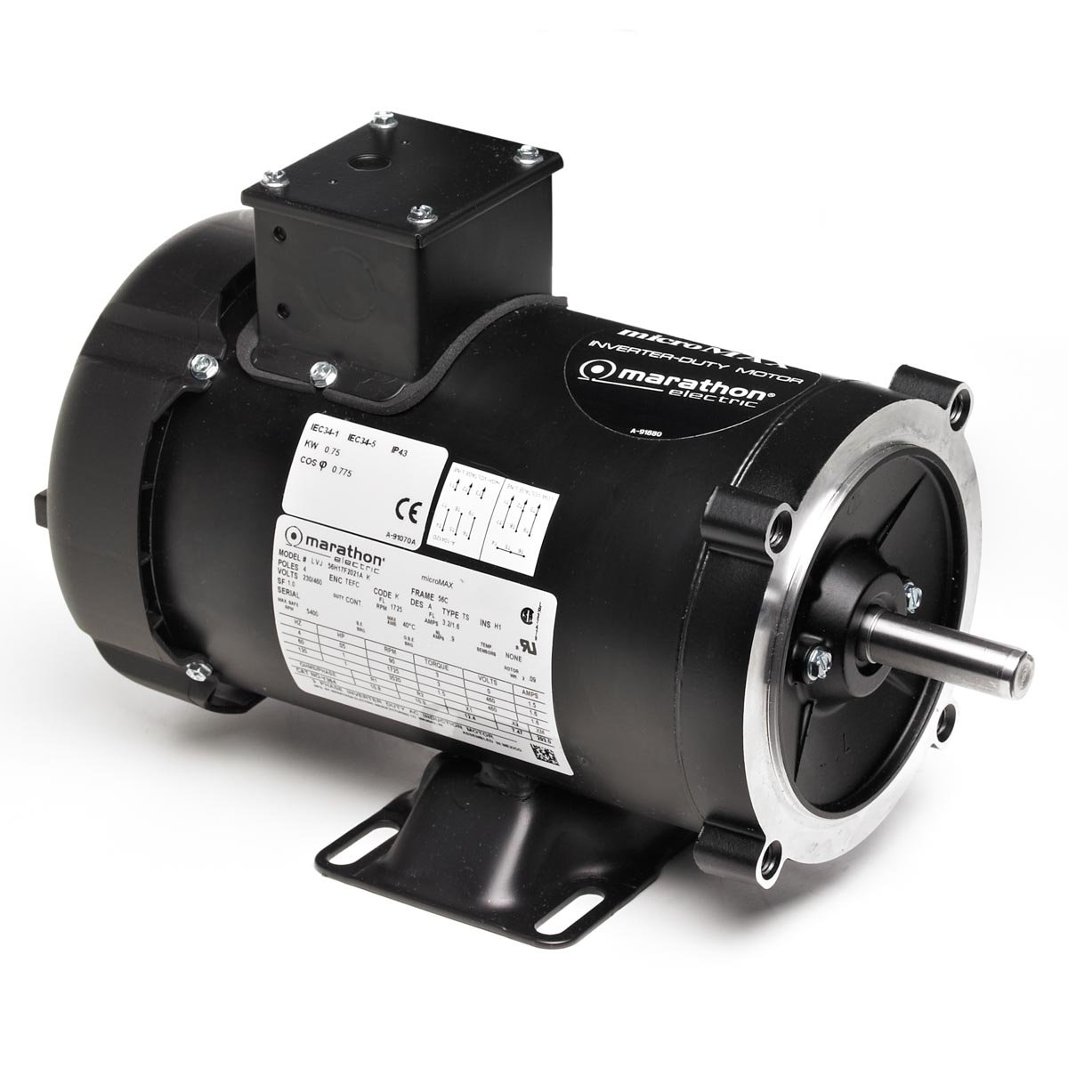 Marathon 56H17T2015 Vector Duty Motor, 3 Phase, TENV, C-Face with Base, Ball Bearing, 1/2 hp, 1800 RPM, 1 Speed, 230 VAC, 56C Frame
