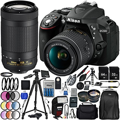 "Nikon D5300 with AF-P DX 18-55mm f/3.5-5.6G VR + Nikon AF-P DX 70-300mm f/4.5-6.3G ED VR 25PC Accessory Bundle - Includes 64GB & 32GB SD Memory Card + 72"" Tripod + Automatic Flash w/ LED Light + MORE"
