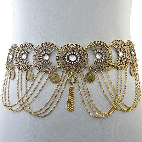 Vintage Silver/Bronze Waist Chian Hollow out Carving Rhinestone Crystal Body Chain Summer Beach Body Waist Chain Jewelry (Women Chain Belt)