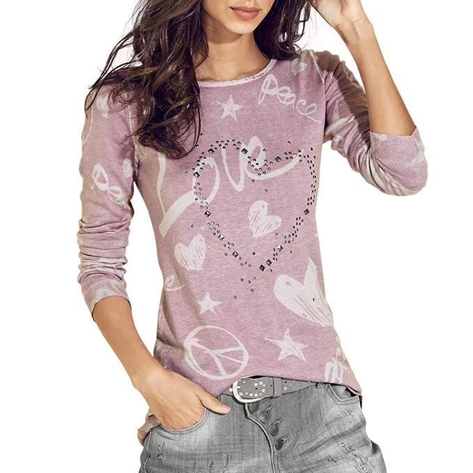 Mujer Camiseta Blusas Moda PANY Las Mujeres Manga Larga Carta Impresa Camisa Casual Blusa Suelta Camiseta