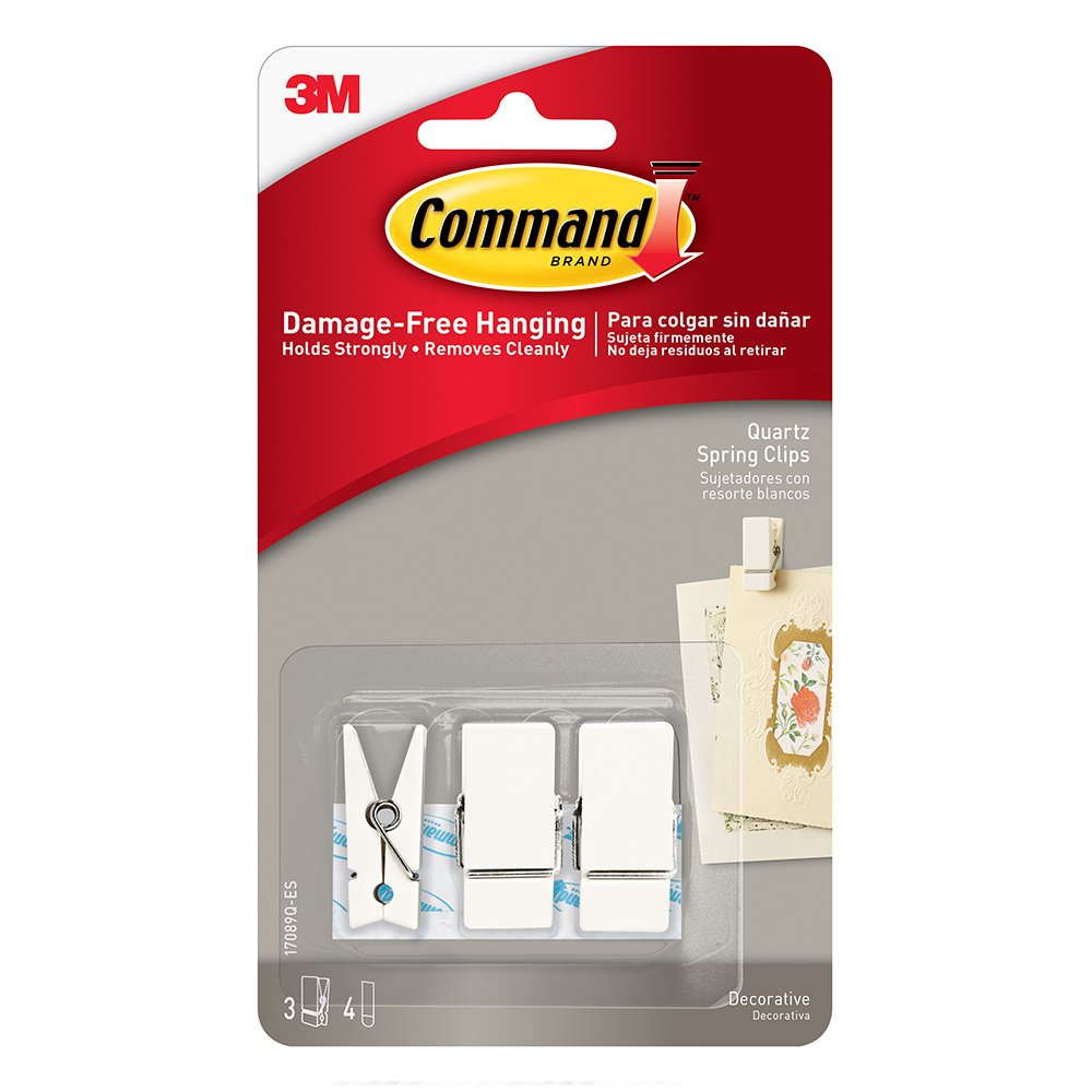 Amazon.com: Command Strips 17089Q-ES Small Quartz Spring Clip 3 Clips 4 Strips: Home & Kitchen
