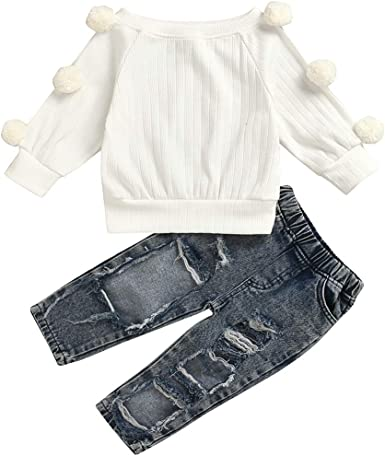 Toddler Kids Girls Hoodie Tops Sweat Shirt Denim Pants Jeans Outfits Clothes Set