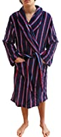 Mens Luxurious Designer Winter Blue and Red Stripe Soft Fleece Long Dressing Gown Robe
