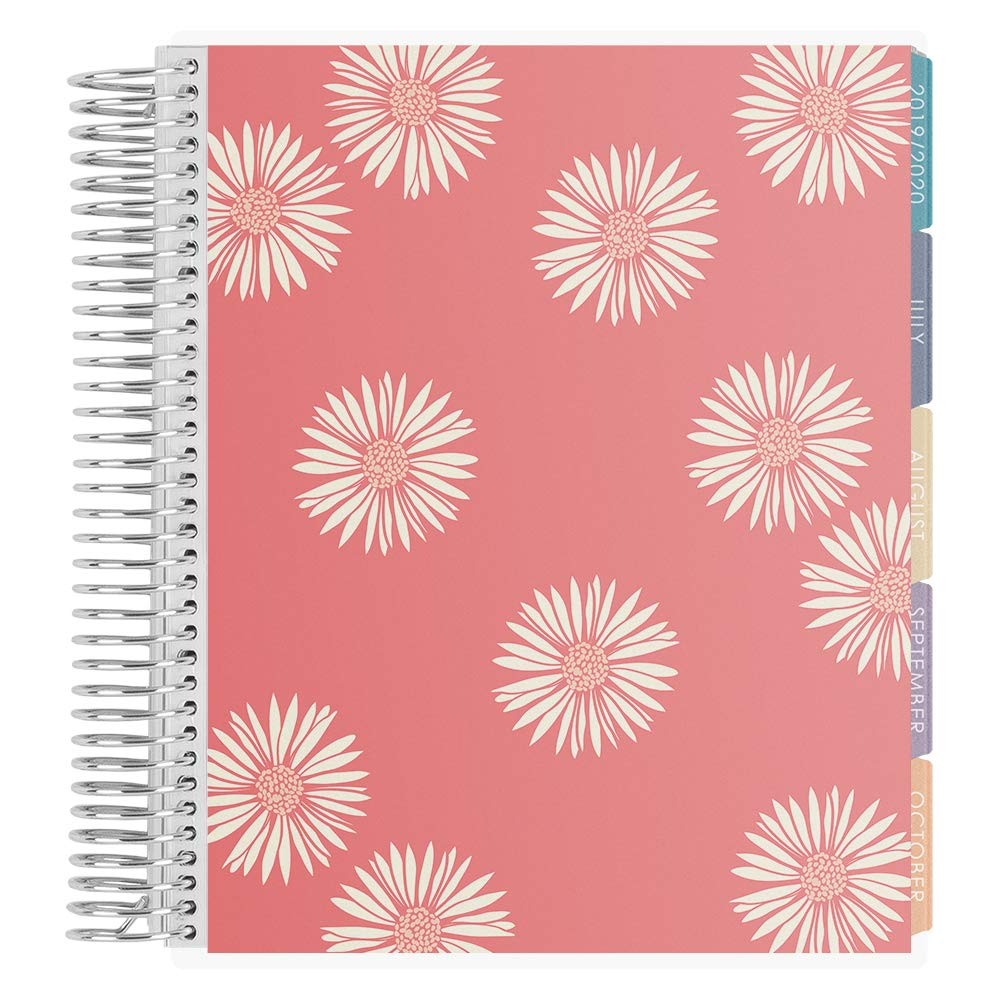 Erin Condren 18-Month July 2019 - Dec 2020 Coiled LifePlanner - Daisies (Salmon & Cherry Blossom), Vertical (Colorful Layout)