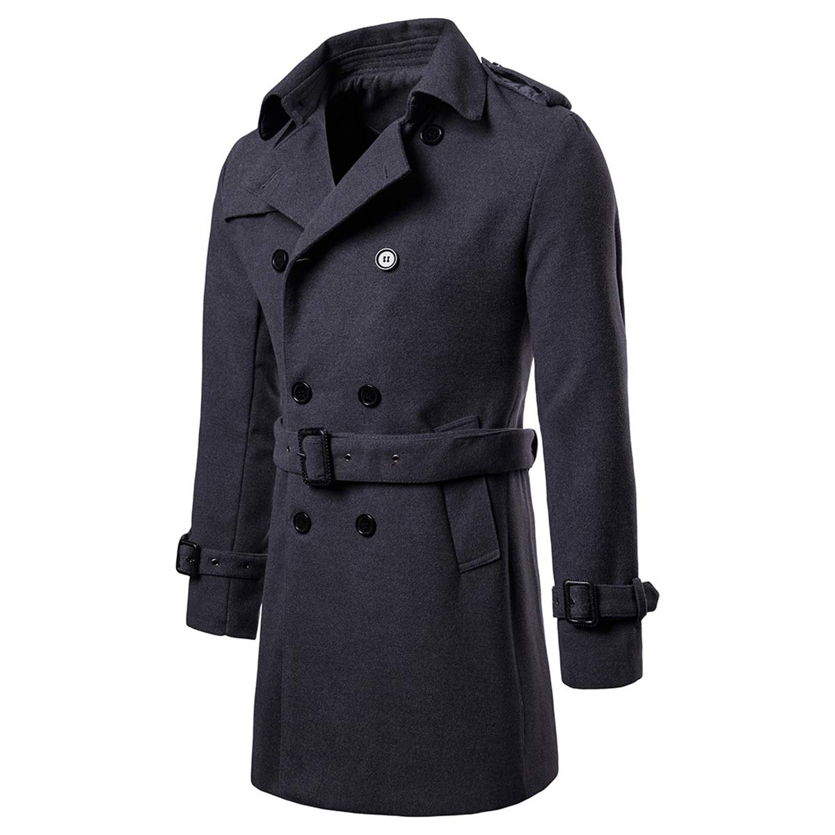 AOWOFS Men's Trench Coat Woolen Winter Long Double Breasted Overcoat Slim Fit Warm Pea Coat Dark Grey by AOWOFS