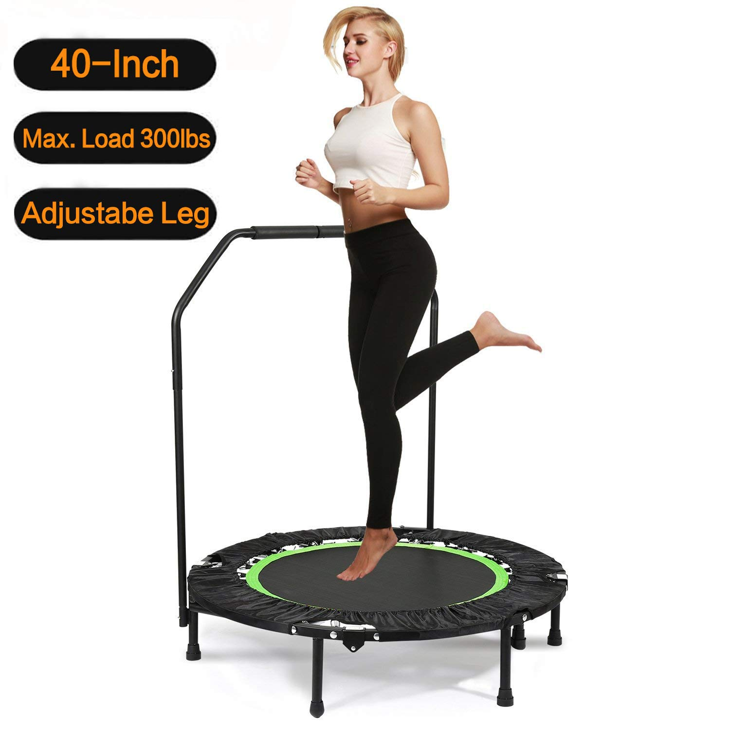 Hosmat 40 Inch Mini Exercise Trampoline for Adults or Kids - Indoor Fitness Rebounder Trampoline with Adjustable Handle Bar & Legs| Max. Load 300LBS (Green) by Balanu