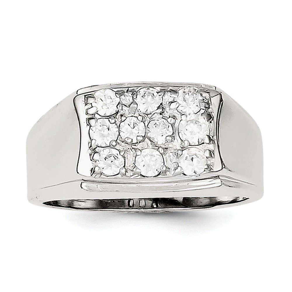 Brilliant Bijou Solid .925 Sterling Silver Mens CZ Cubic Zirconia Ring Size 10
