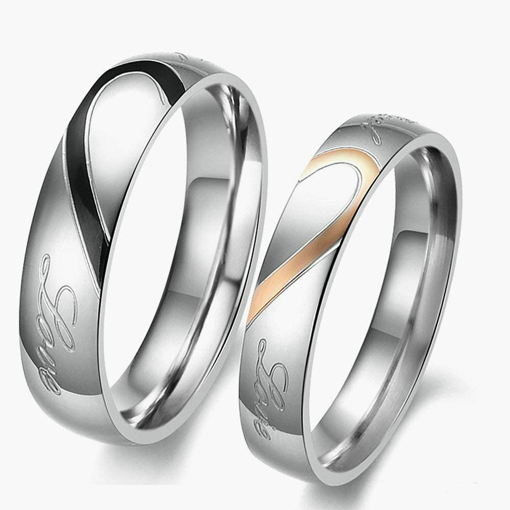 Herinos Couples Rings Heart Shaped Promise Rings Stainless Steel Wedding Bands Silvery Engagement Rings