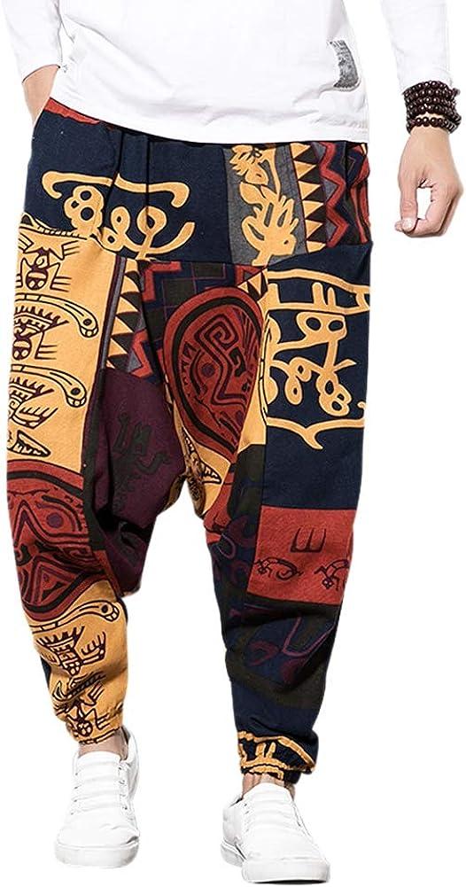 Pantalones de harén para hombre con pantalones de harén unisex estampados con bolsillo Pantalones holgados Bloomers Dance Beach - Pantalones florales para Aladdin Arnés casuales holgados Pantalones