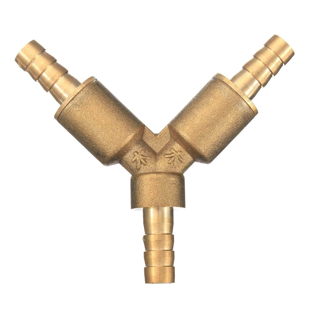 Xucus 5//16 8mm Brass Y 3-Way Shut Off Ball Valve Fitting Hose Barb Fuel Gas CLAMP Tee New Arrival