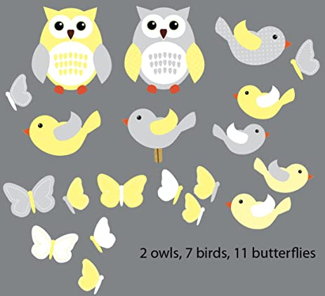 Amazoncom Yellow And Gray Birds And Owls Wall Decals For Kids - Yellow bird wall decals