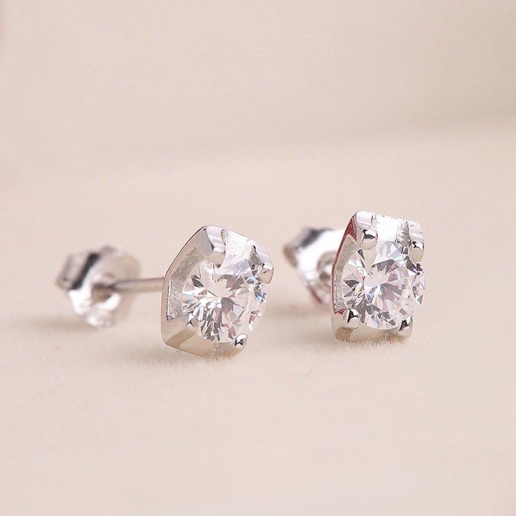 KnSam Women Platinum Plate Pierced Stud Earrings Round Brilliant Crystal Rhinestone White
