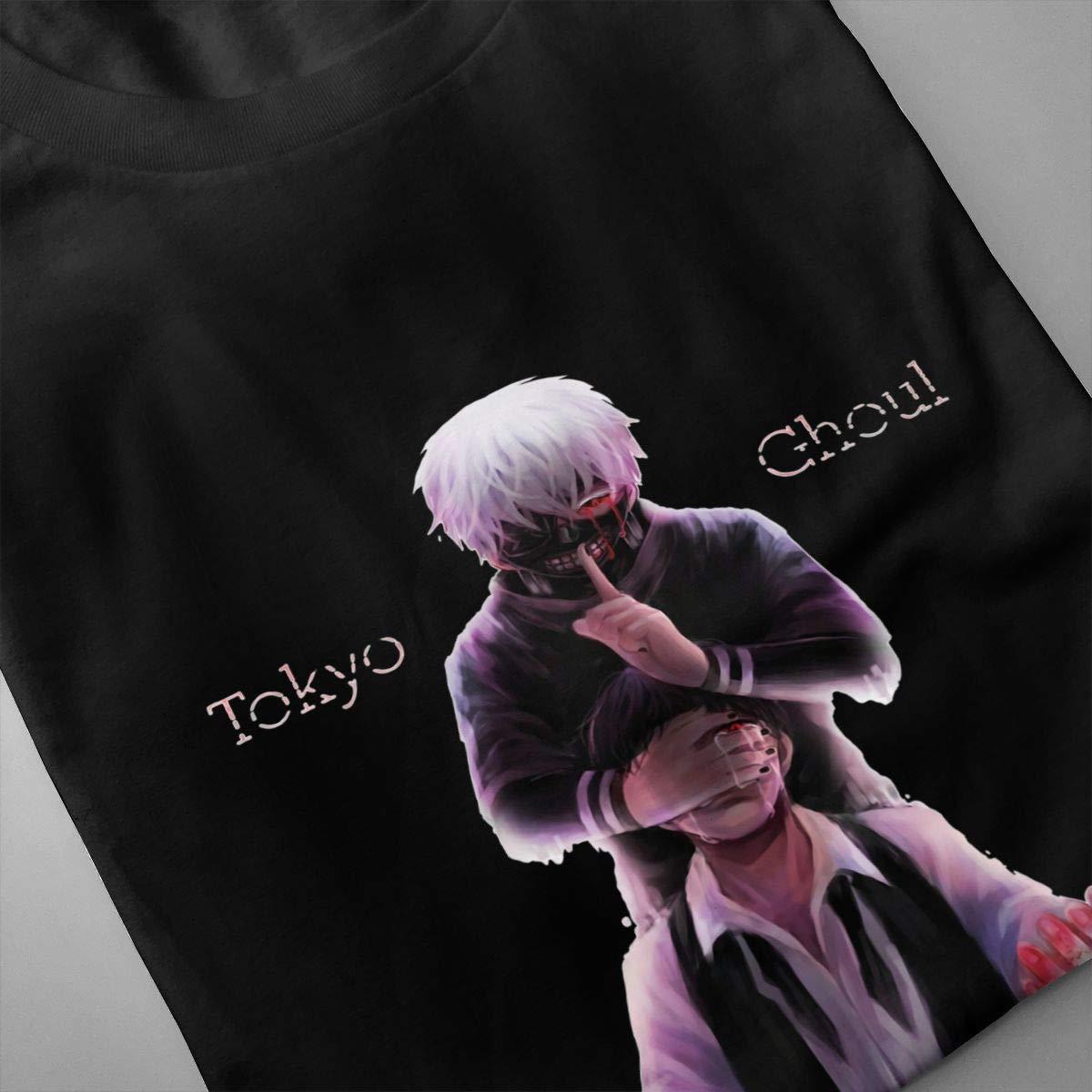 GekhHaon Tokyo Ghoul Mans Pop Short Sleeves T Shirt Tees Black Cotton Short Sleeve Comfy TopsBlack