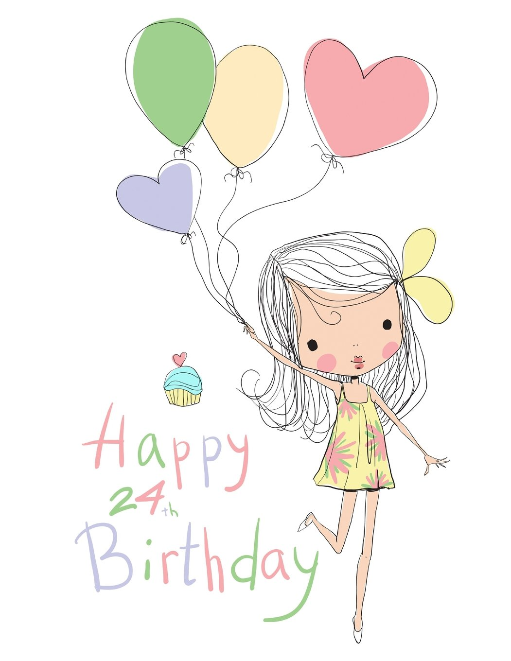 """Download Happy 24th Birthday: Notebook, Journal, Diary, 105 Lined Pages, Cute Birthday Gifts for 24 Year Old Women, Sister, Daughter, Granddaughter, Best Friend, Book Size 8 1/2"""" x 11"""" pdf epub"""