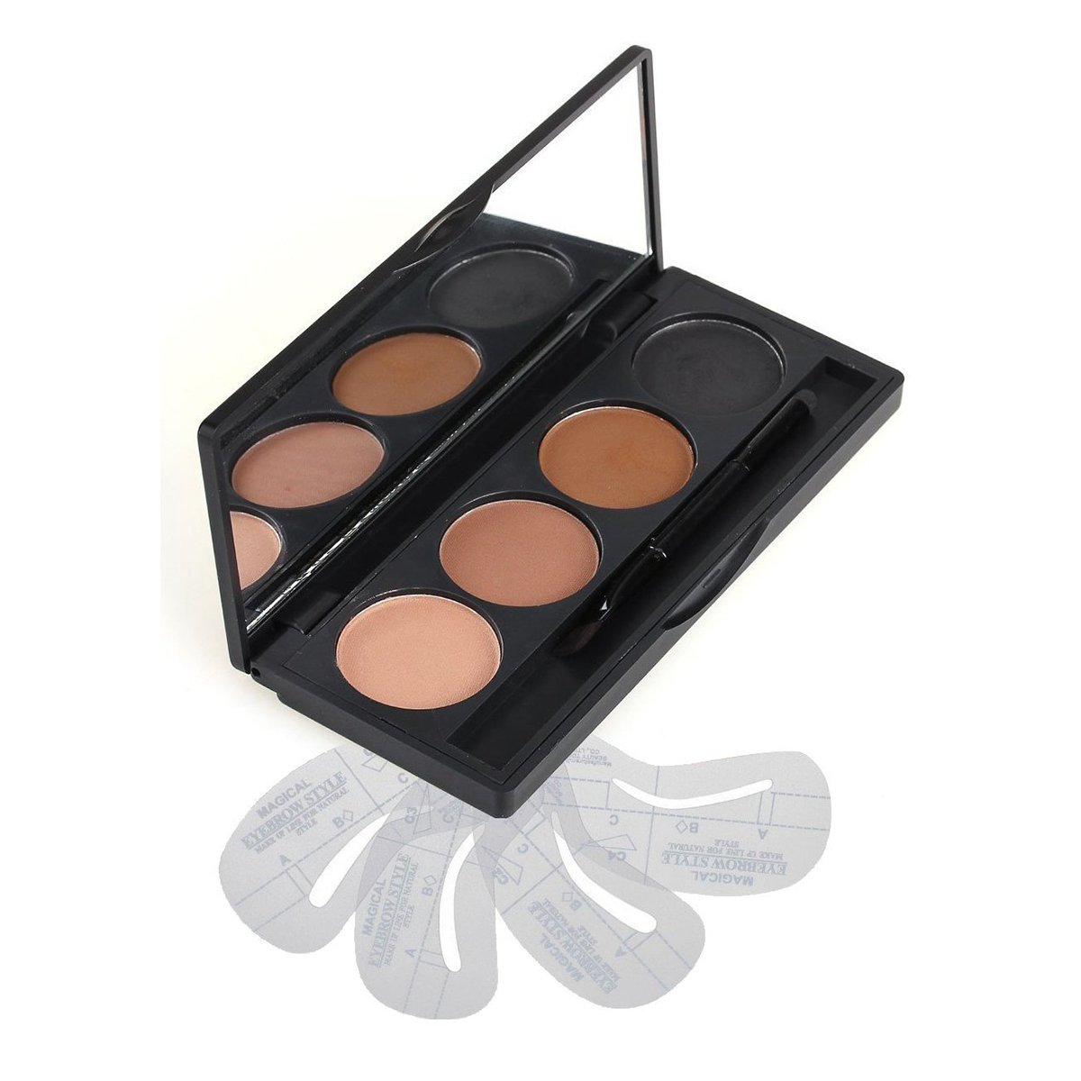 Vodisa 3 Colour Eyebrow Makeup Powder Kit-Eye Brow Tint Palette - Beauty Cosmetics Light Brown Brow Dye for Nose Shaded-Professional Make Up Eye Brows Filler+4 Eyebrow Shaping Stencils+ Eyebrow Brush