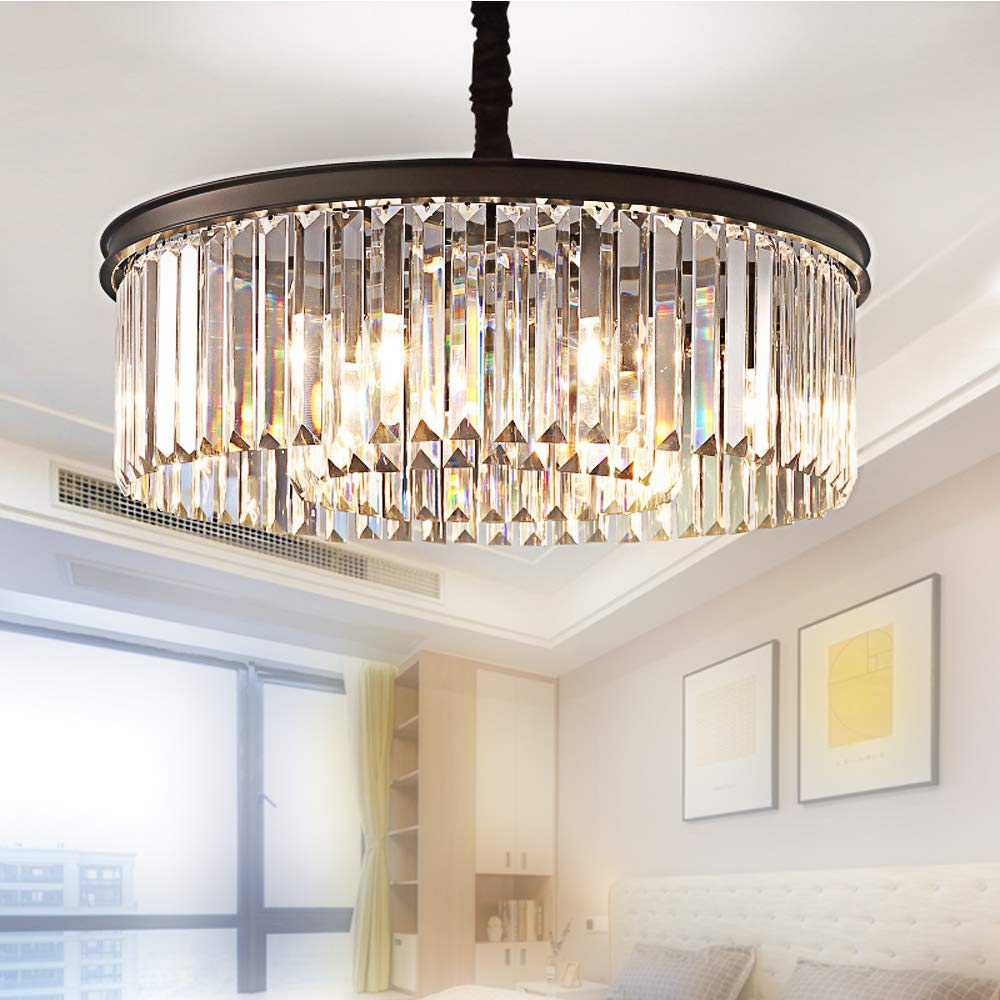 Meelighting Crystal Chandeliers Modern Contemporary Ceiling Lights Fixtures Pendant Lighting Dining Room Living Room Chandelier D21.6'' H7.1''