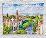 Ambesonne Wanderlust Decor Collection, Seville, Spain Cityscape Towards Plaza De Espana Scenery Monument Road Daytime , Bedroom Living Room Dorm Wall Hanging Tapestry, 60W X 40L Inch