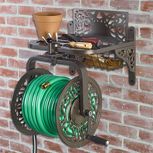 Liberty Garden Products 714 Decorative Cast Aluminum Navigator Rotating Garden Hose Reel, Holds 150-Feet of 5/8-Inch Hose - Bronze