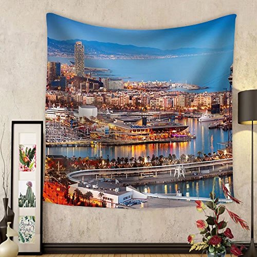 Gzhihine Custom tapestry Barcelona City and Port in Evening. Catalonia Spain - Fabric Wall Tapestry Home Decor by Gzhihine