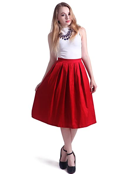 HDE Women's High Waist A Line Street Skirt Pleated Flared Full Midi Skirt (Dark Red, M)