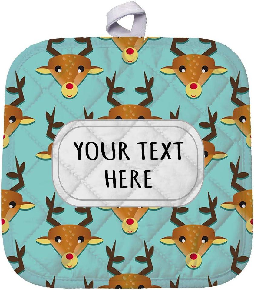 Polyester Pot Holder Custom Christmas Deer Rudolf Seemless Pattern Adults Trivets