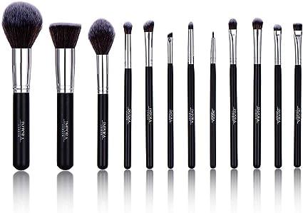 Set de pinceles de maquillaje. Incluye Brocha para Polvo, Brocha Kabuki, Brochas para Sombra de Ojos, Brocha para difuminar, Brocha para Cejas, Brocha para Delinear Ojos y más [12 brochas]: Amazon.es: Belleza