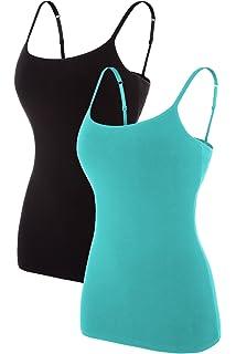 5661cf4bf85b18 beautyin Women s Cotton Camisole Adjustable Spaghetti Strap Tank Top Shelf  Bra Cami Tanks