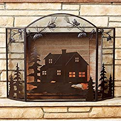 Cabin Scene Fireplace Screen - Rustic Decor
