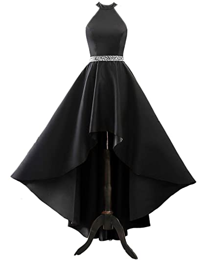 8edd6f462d85b Changuan Halter High Low Evening Party Dress Long Satin Homecoming Prom  Formal Gowns with Pockets