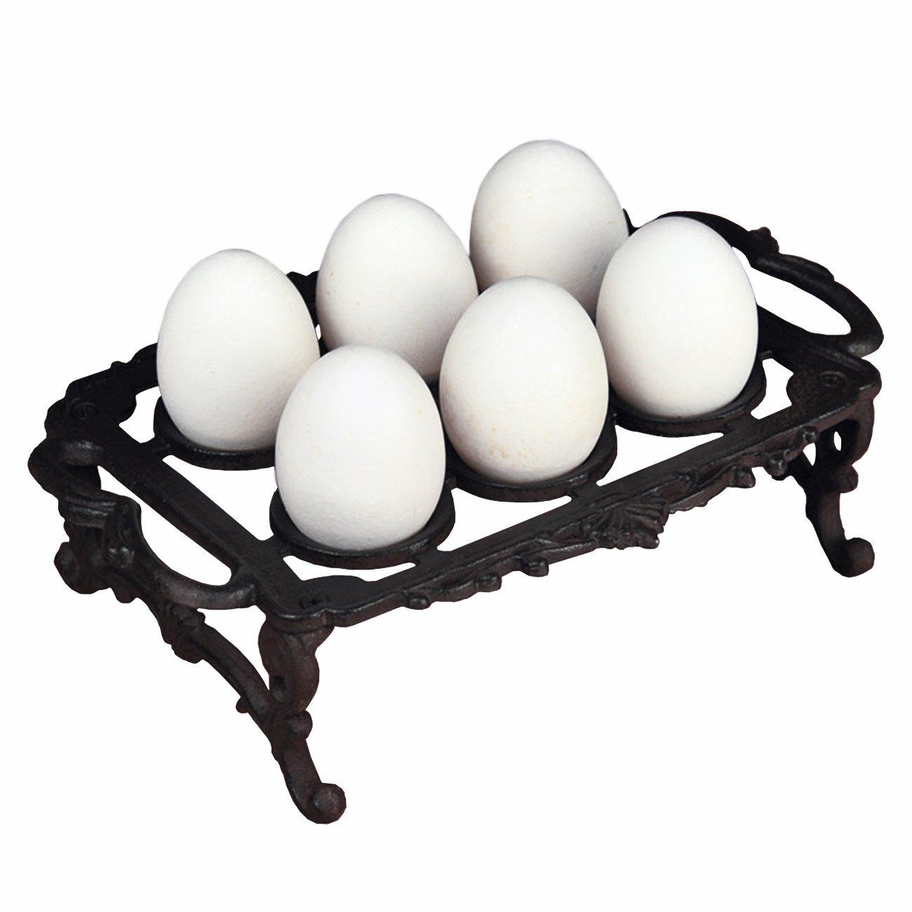 Ogrmar Vintage Cast Iron 6 Egg Holder Tray with Handles for Kithcken (Black)