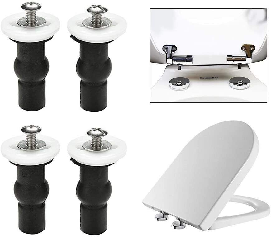 universell erweiterbar 2 Paar BKAUK Befestigungsschrauben f/ür WC-Sitz Muttern Blindl/öcher Gummi Scharniere 4 St/ück