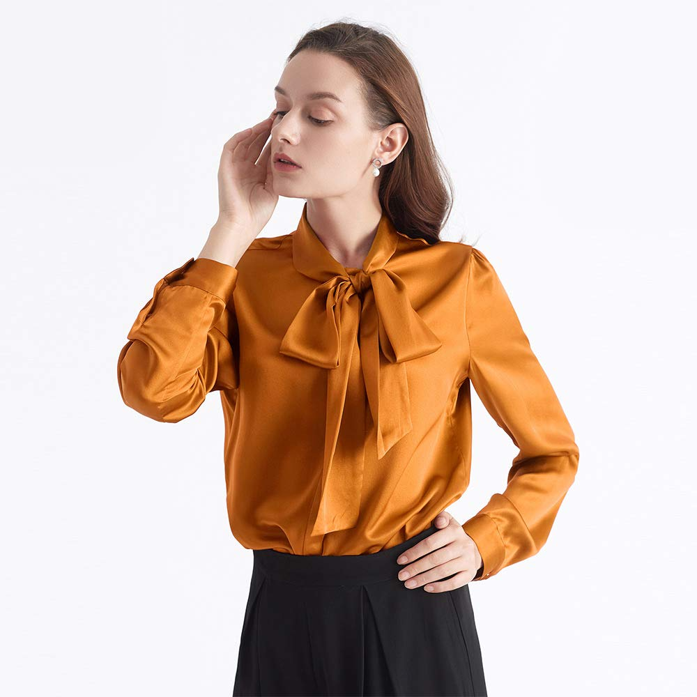 a182e32f67ea6 LilySilk Bow-tie Neck Silk Blouse for Women Long Sleeve Ladies Tops Buttons  VintageReal Silk Shirts at Amazon Women s Clothing store