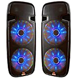Pair of Lighted Powered Dual 15'' 3000 Watt DJ Speakers - Bluetooth, MP3, USB, SD, FM Radio or plug in your laptop or iPhone - Plug and Play - Light Show Included - Adkins Professional Audio