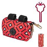 IDOLPET Dog Poop Bag Dispenser for Leash, Stylish Fabric Dog Waste Bag Holder Container, Hands Free Used Waste Bag Carrier Ho