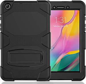 Galaxy Tab A 8.0 Case 2019, Bingcok Heavy Duty Rugged Full-Body Hybrid Shockproof Drop Protection Cover with Kickstand for Samsung Galaxy Tab A 8.0 2019 Model SM-T290 /SM- T295 (1-Black)