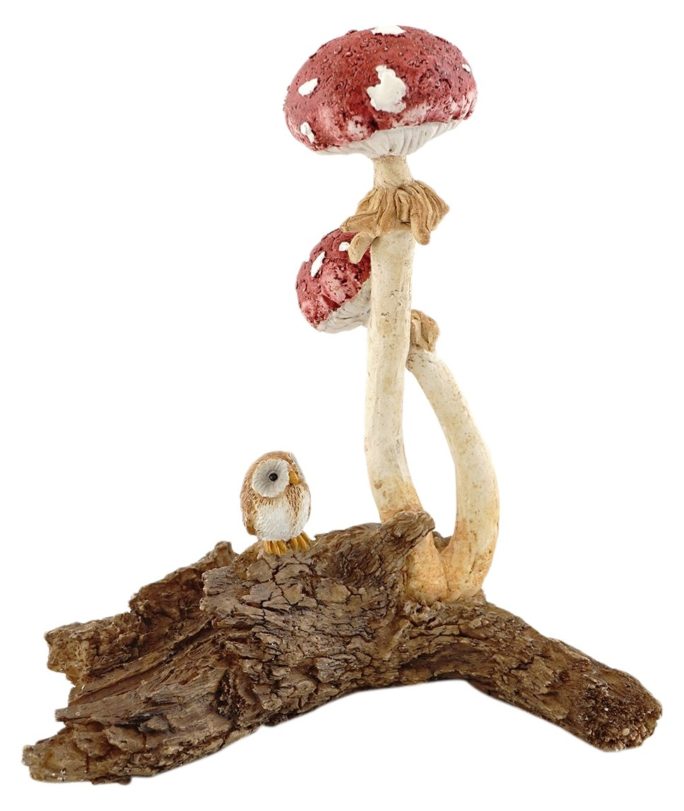 Top Collection Miniature Fairy Garden and Terrarium Owl with Red Mushrooms Figurine