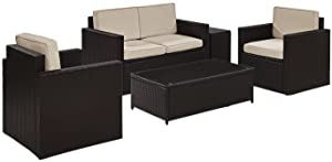Crosley Furniture Palm Harbor 5-Piece Outdoor Wicker Conversation Set with Sand Cushions - Brown