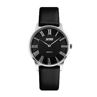 612a0010e2587e SKMEI 腕時計 ペアウォッチ レーディズ 上品 シンプル ローマインデックス レザーベルト ブラック