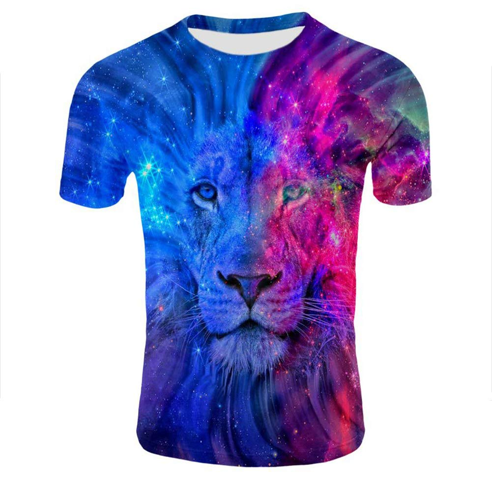 DSstyles Unisex 3D Lion Digital Printed Short Sleeve T-Shirt