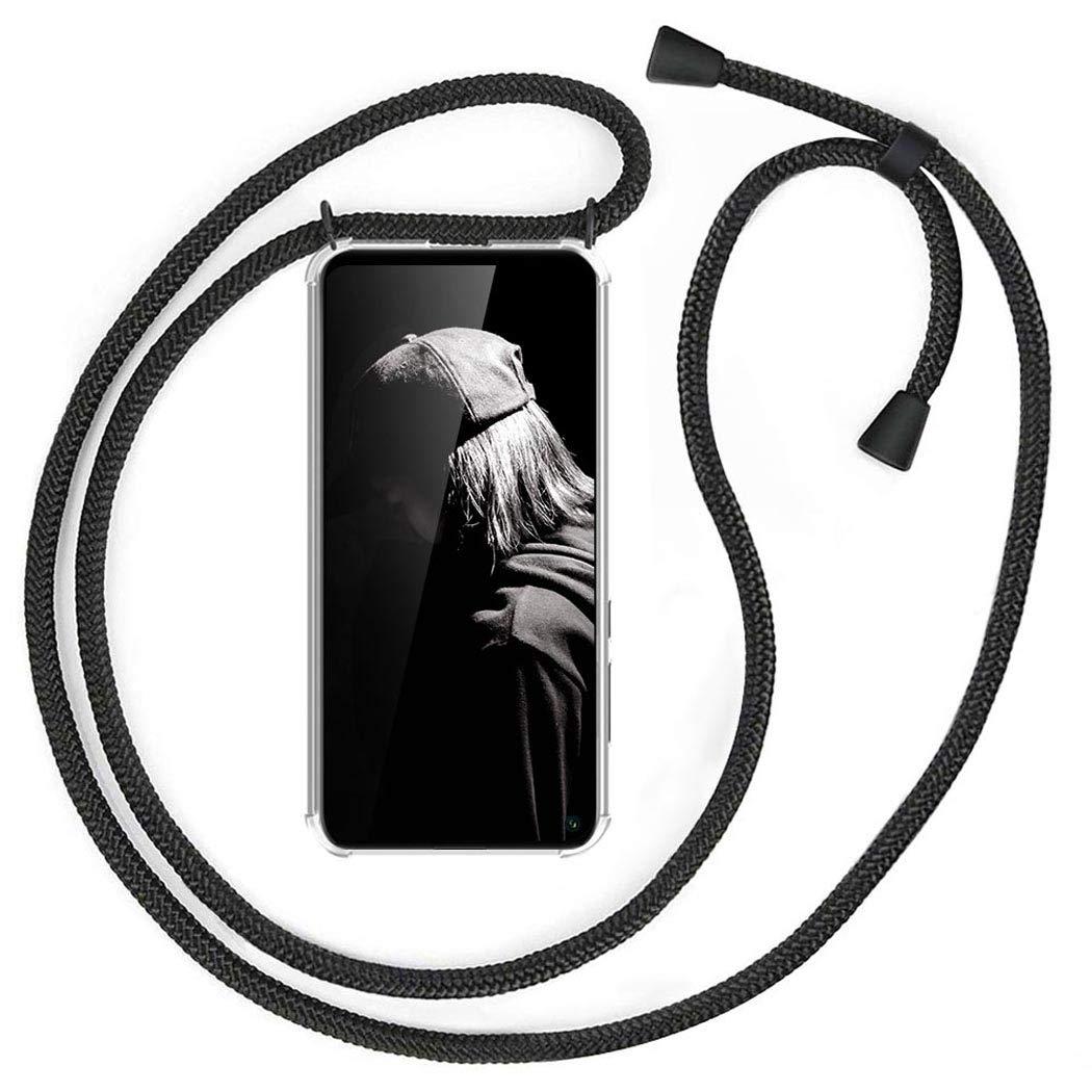 Gris Case con Correa Colgante//TPU Necklace con Banda con Cordon para Llevar en el Cuello MXKOCO Carcasa de movil con Cuerda para Colgar Huawei P Smart 2019