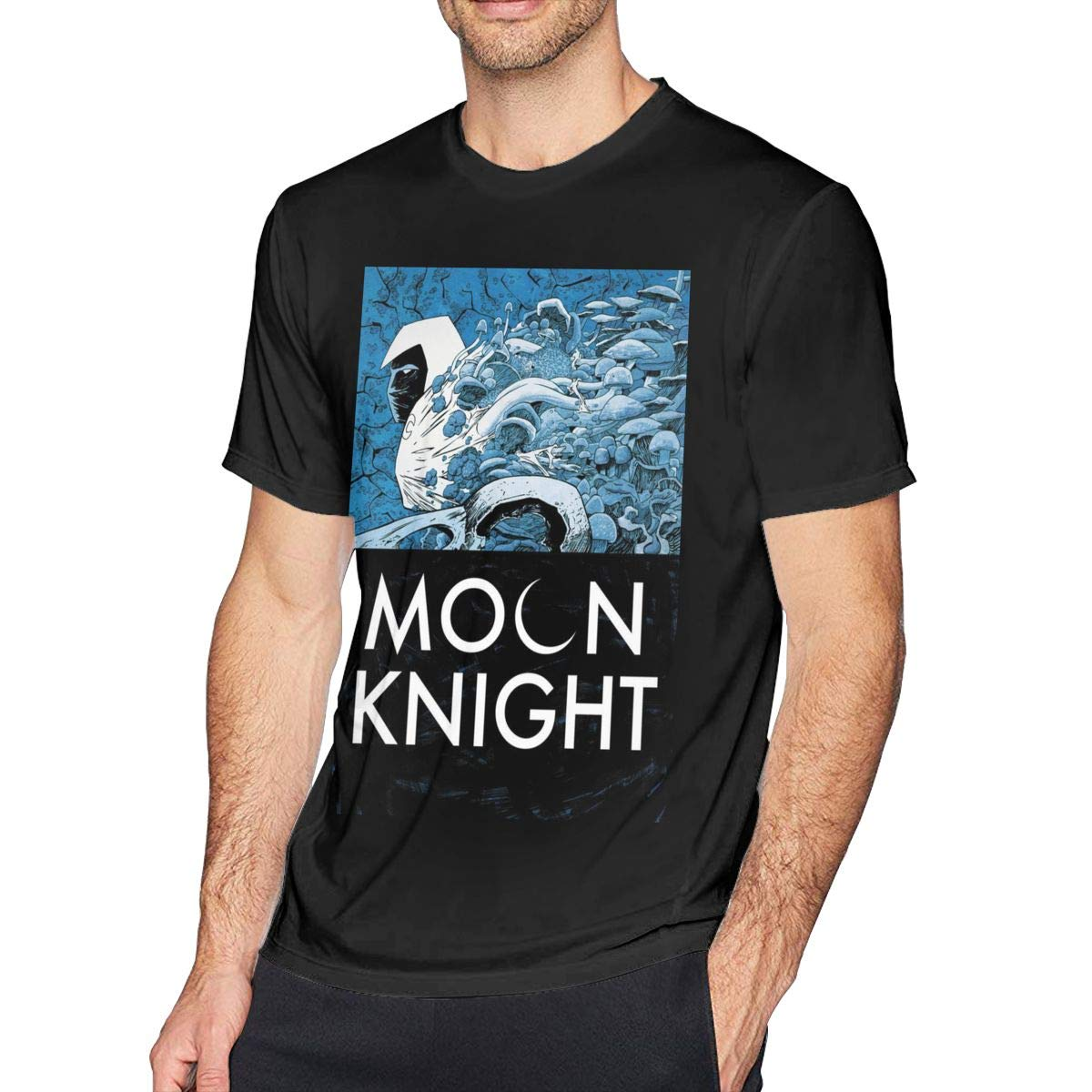 Bfcxbgdsig Moon Knight Soft and Comfortable Fashionable T-Shirt with Round Collar Black