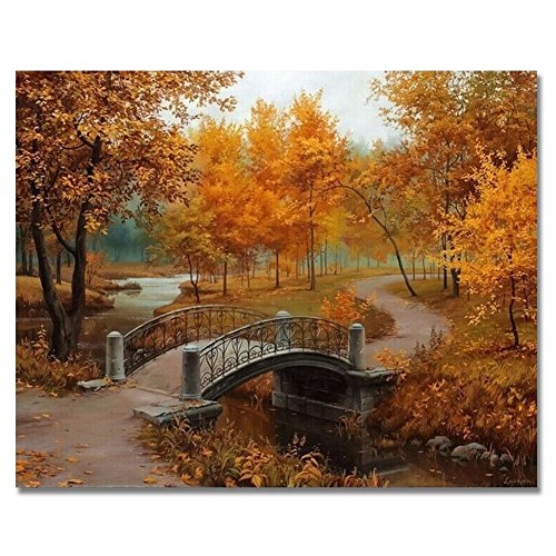 (Rihe DIY Oil Painting, Paint by Numbers Kit Canvas for Adults Kids Beginner- Maple 16x20inch (Frameless))