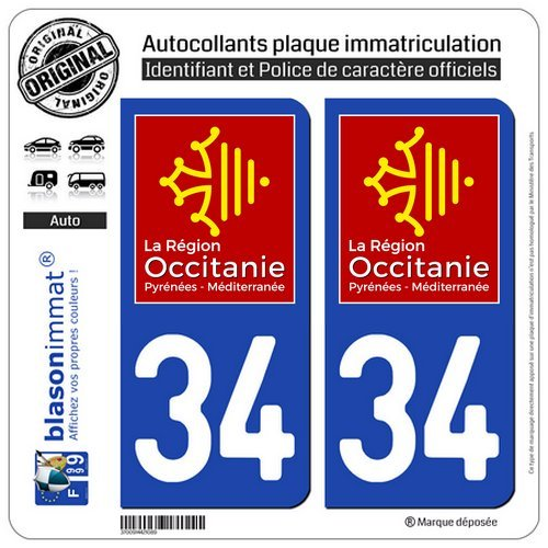 blasonimmat 2 Autocollants plaque immatriculation Auto 34 Occitanie - LogoType