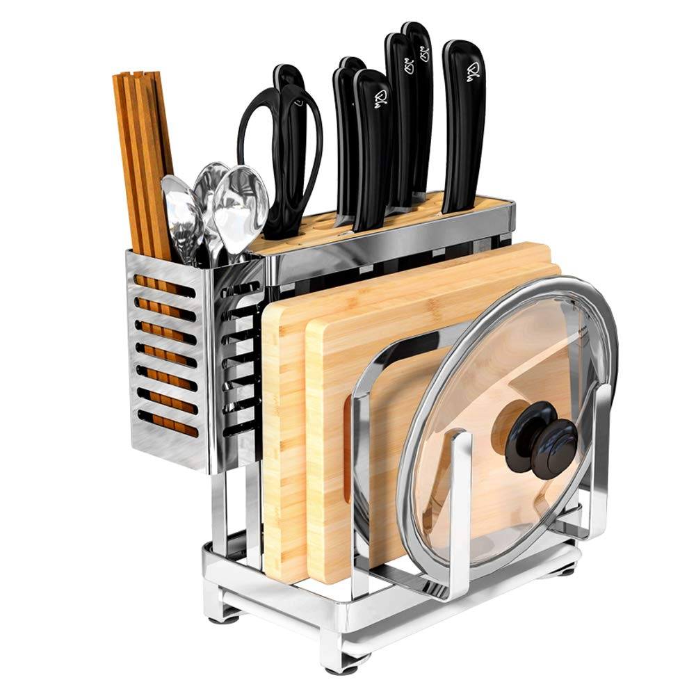 Multifunctional Cutting Board and knife Holder, Stainless Steel Organizer Anti Slippery Mat and Bottom Removable Water Tray,Kitchen Utensil Drying Drainer Rack, for Knives,Pot Cover,Forks,Spoons