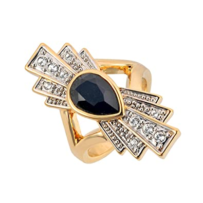 ca6601e36 Cristalina 18k Gold Plated Gatsby Art Deco Double Fan Swarovski Jet Crystal  Ring - Size R: Amazon.co.uk: Jewellery