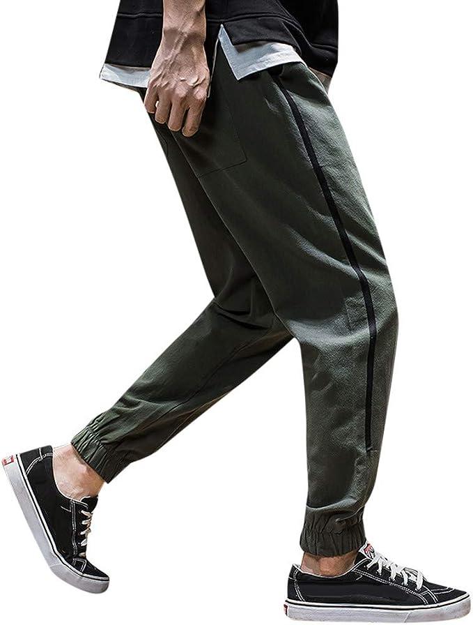Amazon.com: NREALY Pantalones para hombre, holgados, de ocio ...