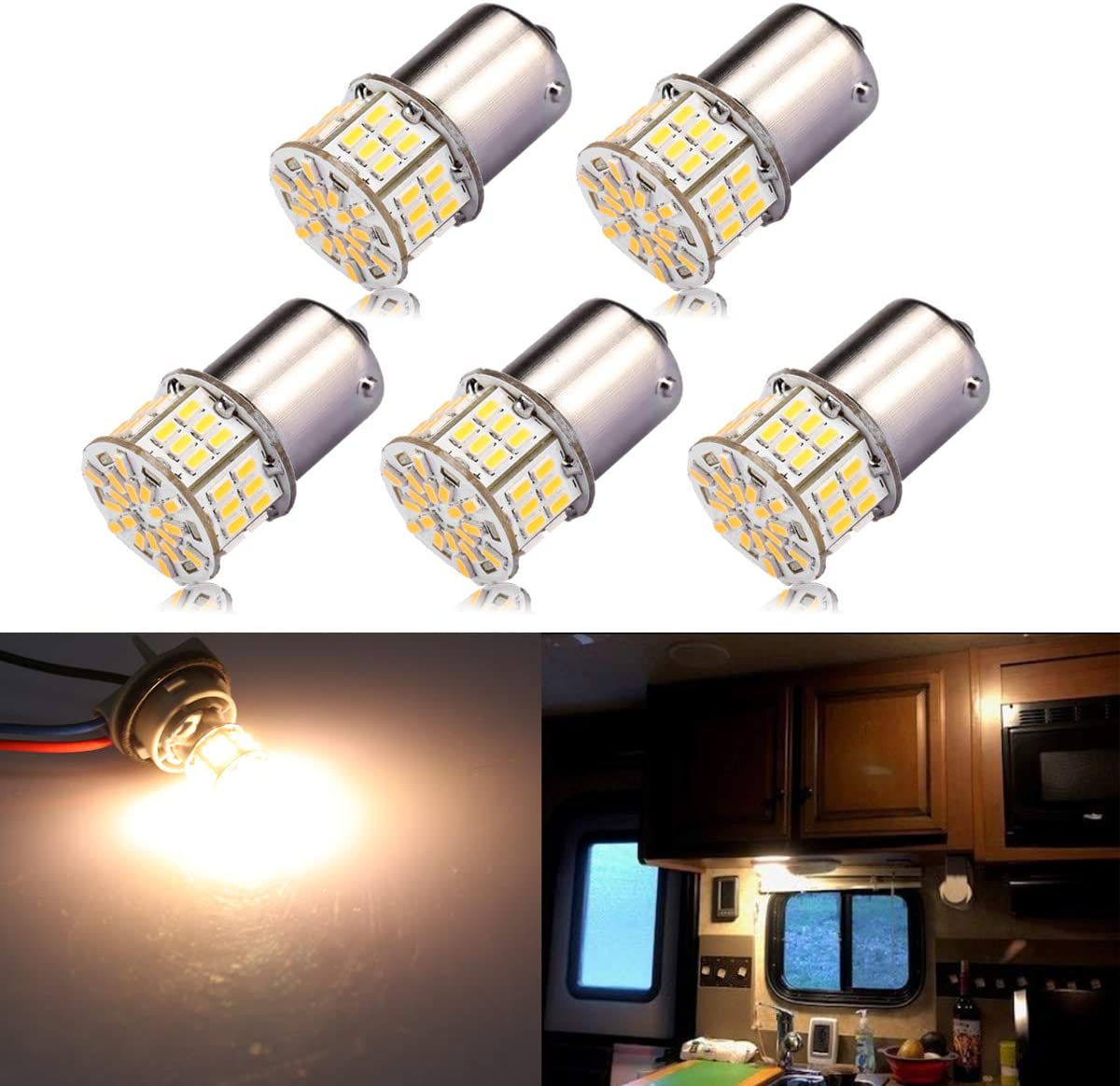 iBrightstar Super Bright 12-24V LED Bulbs 1141 1156 1003 1073 BA15S 7506 Replacement for RV Camper Interior Indoor Back Up Reverse Brake Tail Lights Warm White 4000K